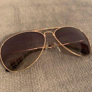Ann Taylor LOFT Sunglasses Aviator Brown Gold